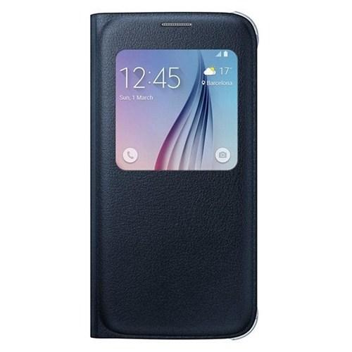 Samsung Galaxy S6 S View Cover (Deri) Kılıf - Siyah - EF-CG920PBEGWW