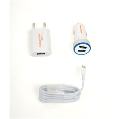 Newonline iPhone 5/5s/6/6s Ev,Araç Şarj ve USB Kablo 3in1 (2,1A) - NW-IP5/6G-3IN1