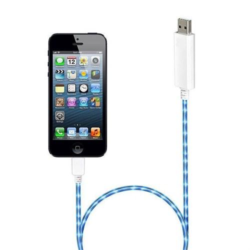 Microsonic 8Pin İphone 5 & 5S - İpad Mini Akımı Gösteren Işıklı Data Ve Şarj Kablosu
