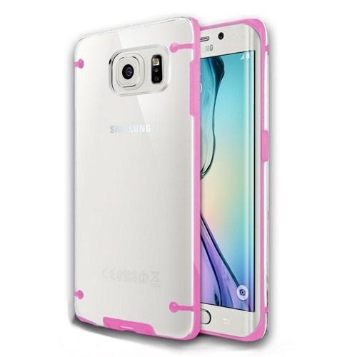 Microsonic Hybrid Transparant Samsung Galaxy S6 Edge Kılıf Pembe