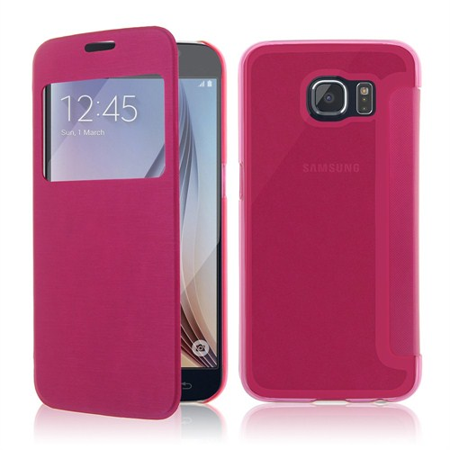 Microsonic View Cover Delux Kapaklı Samsung Galaxy S6 Kılıf Pembe