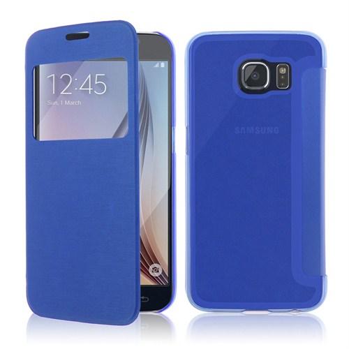 Microsonic View Cover Delux Kapaklı Samsung Galaxy S6 Kılıf Mavi