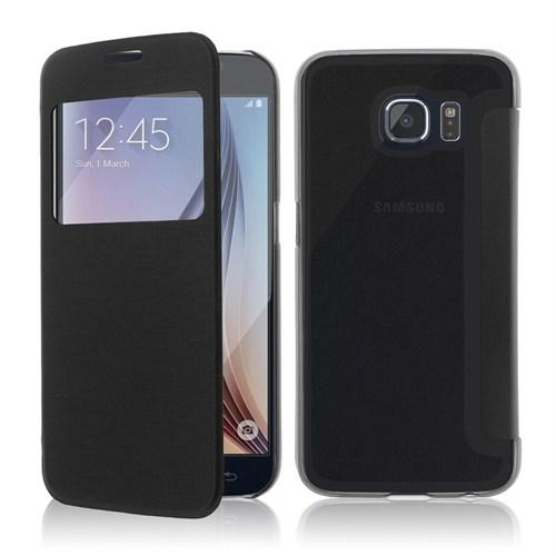 Microsonic View Cover Delux Kapaklı Samsung Galaxy S6 Kılıf Siyah