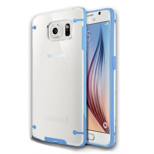 Microsonic Hybrid Transparant Samsung Galaxy S6 Kılıf Mavi