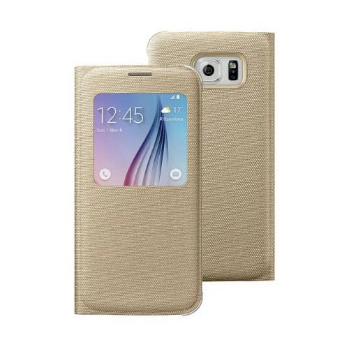 Microsonic View Premium Fabric Samsung Galaxy S6 Kapaklı Kılıf (Akıllı Modlu) Gold