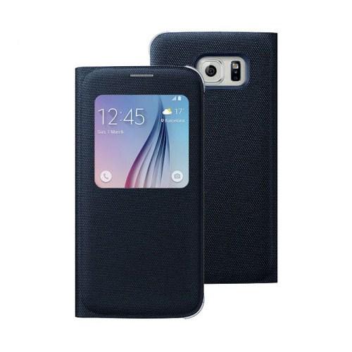 Microsonic View Premium Fabric Samsung Galaxy S6 Kapaklı Kılıf (Akıllı Modlu) Siyah