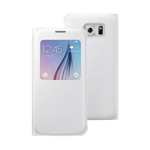 Microsonic View Premium Leather Samsung Galaxy S6 Deri Kapaklı Kılıf (Akıllı Modlu) Beyaz