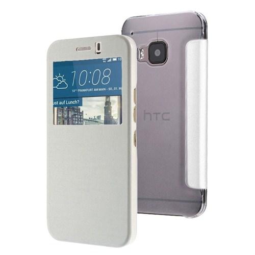 Microsonic View Cover Delux Kapaklı Htc One M9 Kılıf Beyaz