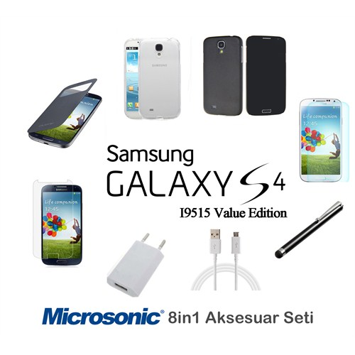 Microsonic Samsung Galaxy S4 İ9515 Value Edition Kılıf & Aksesuar Seti 8İn1