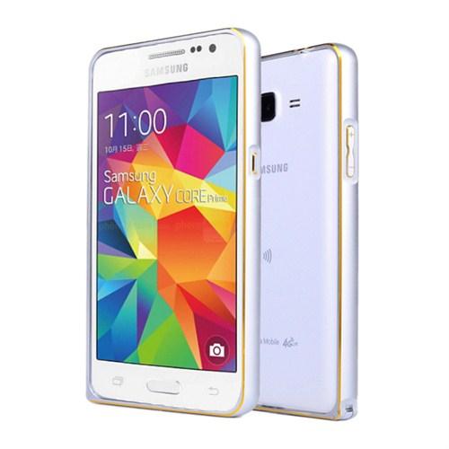 Microsonic Samsung Galaxy Core Prime Thin Metal Çerçeve Kılıf Gümüş