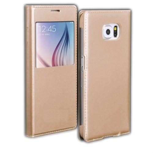 Microsonic View Slim Kapaklı Deri Samsung Galaxy S6 Kılıf Altın Sarısı