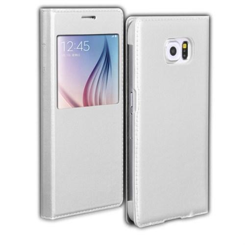 Microsonic View Slim Kapaklı Deri Samsung Galaxy S6 Kılıf Beyaz