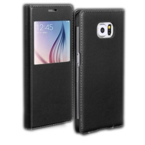 Microsonic View Slim Kapaklı Deri Samsung Galaxy S6 Kılıf Siyah