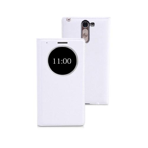 Microsonic View Slim Kapaklı Deri Lg G3 Stylus Kılıf Akıllı Modlu Beyaz