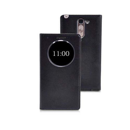 Microsonic View Slim Kapaklı Deri Lg G3 Stylus Kılıf Akıllı Modlu Siyah