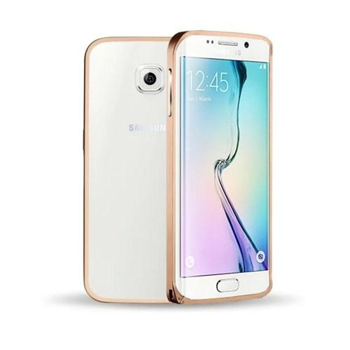 Microsonic Samsung Galaxy S6 Edge Thin Metal Çerçeve Kılıf Altın Sarısı