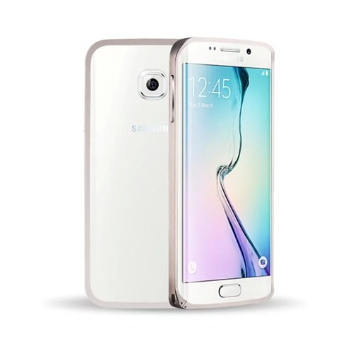 Microsonic Samsung Galaxy S6 Edge Thin Metal Çerçeve Kılıf Gümüş