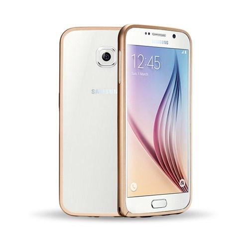 Microsonic Samsung Galaxy S6 Thin Metal Çerçeve Kılıf Altın Sarısı