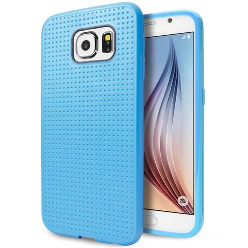 Microsonic Dot Style Silikon Samsung Galaxy S6 Kılıf Mavi