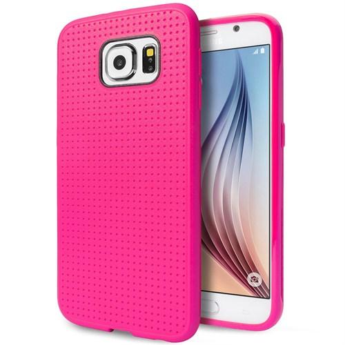 Microsonic Dot Style Silikon Samsung Galaxy S6 Kılıf Pembe