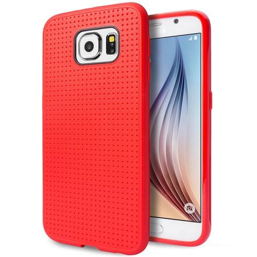 Microsonic Dot Style Silikon Samsung Galaxy S6 Kılıf Kırmızı
