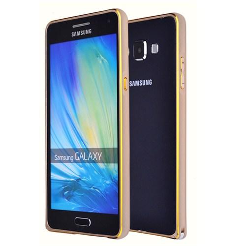 Microsonic Samsung Galaxy E7 Thin Metal Çerçeve Kılıf Altın Sarısı