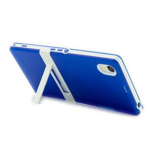 Microsonic Standlı Soft Sony Xperia Z1 Kılıf Mavi