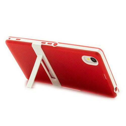 Microsonic Standlı Soft Sony Xperia Z1 Kılıf Kırmızı