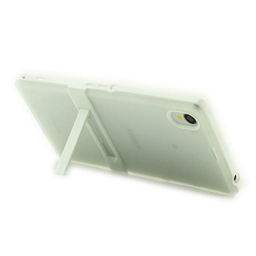 Microsonic Standlı Soft Sony Xperia Z1 Kılıf Beyaz