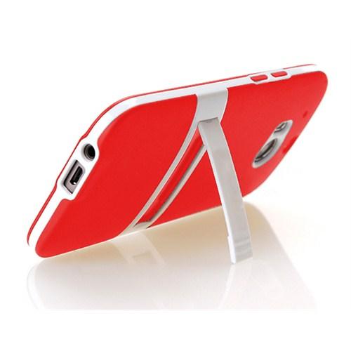 Microsonic Standlı Soft Htc One M8 Kılıf Kırmızı