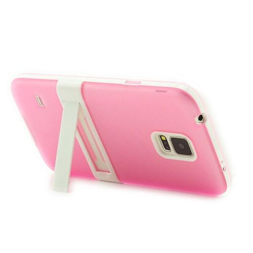 Microsonic Standlı Soft Samsung Galaxy S5 Kılıf Pembe