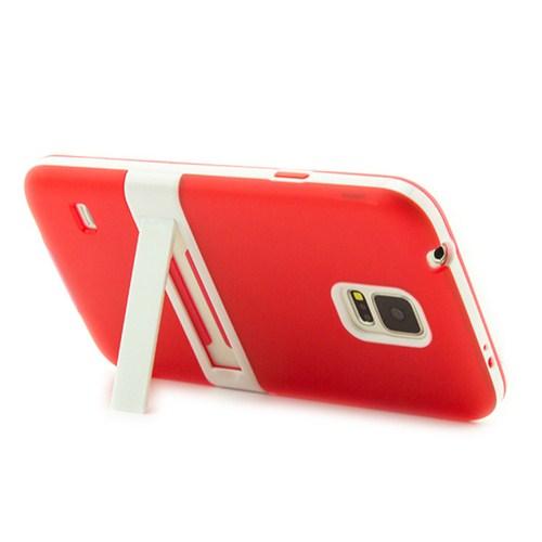 Microsonic Standlı Soft Samsung Galaxy S5 Kılıf Kırmızı