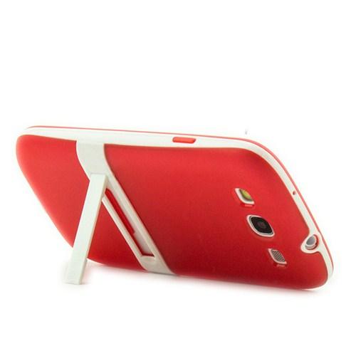 Microsonic Standlı Soft Samsung Galaxy S3 Kılıf Kırmızı