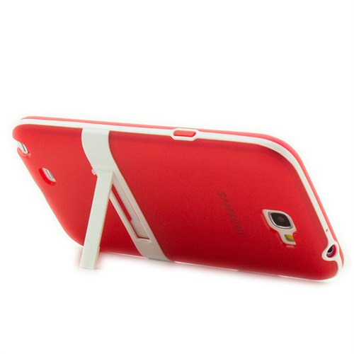 Microsonic Standlı Soft Samsung Galaxy Note 2 Kılıf Kırmızı