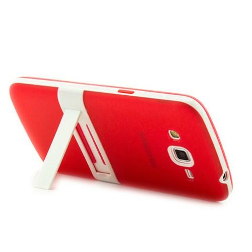 Microsonic Standlı Soft Samsung Galaxy Grand 2 Kılıf Kırmızı