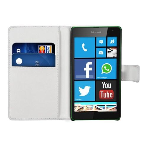 Microsonic Cüzdanlı Deri Microsoft Lumia 535 Kılıf Beyaz