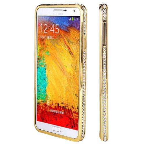 Microsonic Samsung Galaxy Note 4 Taşlı Metal Bumper Kılıf Sarı