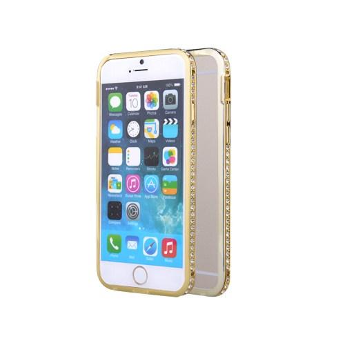 Microsonic İphone 6 Taşlı Metal Bumper Kılıf Sarı