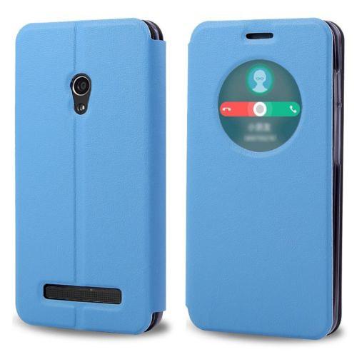 Microsonic View Cover Delux Kapaklı Asus Zenfone 5 Lite Kılıf Akıllı Modlu Mavi