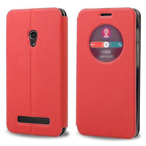 Microsonic View Cover Delux Kapaklı Asus Zenfone 5 Lite Kılıf Akıllı Modlu Kırmızı