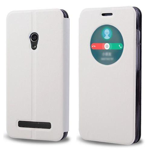 Microsonic View Cover Delux Kapaklı Asus Zenfone 5 Lite Kılıf Akıllı Modlu Beyaz
