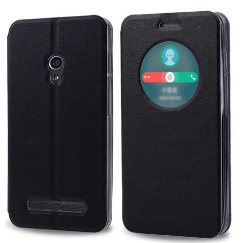 Microsonic View Cover Delux Kapaklı Asus Zenfone 5 Lite Kılıf Akıllı Modlu Siyah
