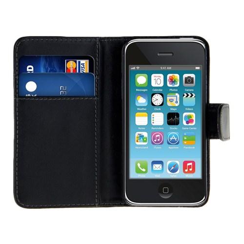 Microsonic Cüzdanlı Deri İphone 3Gs Kılıf Siyah