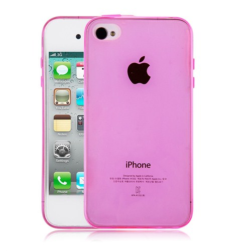 Microsonic Transparent Soft İphone 4S Kılıf Pembe