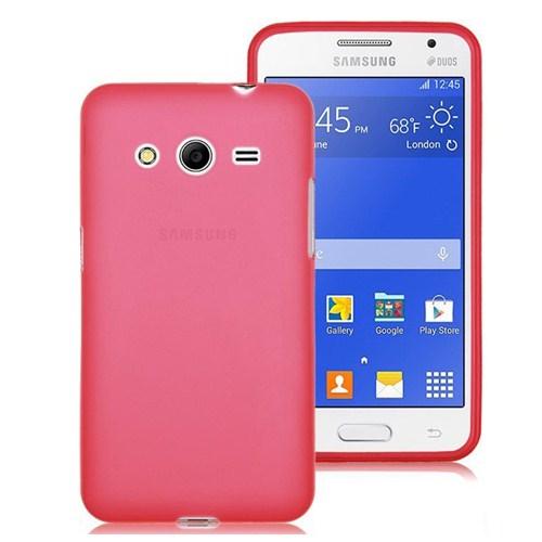 Microsonic Transparent Soft Samsung Galaxy Core 2 Kılıf Kırmızı
