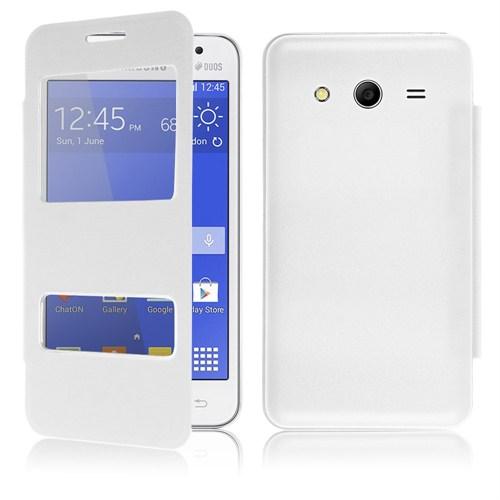 Microsonic Dual View Delux Kapaklı Samsung Galaxy Core 2 Kılıf Beyaz