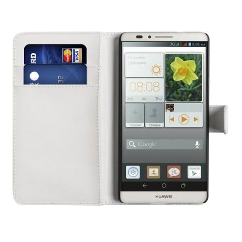 Microsonic Cüzdanlı Deri Huawei Ascend Mate 7 Kılıf Beyaz