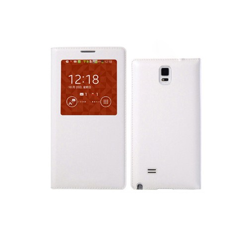 Microsonic View Slim Kapaklı Deri Samsung Galaxy Note 4 Kılıf Akıllı Modlu Beyaz