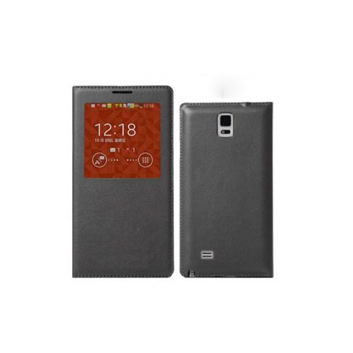Microsonic View Slim Kapaklı Deri Samsung Galaxy Note 4 Kılıf Akıllı Modlu Siyah