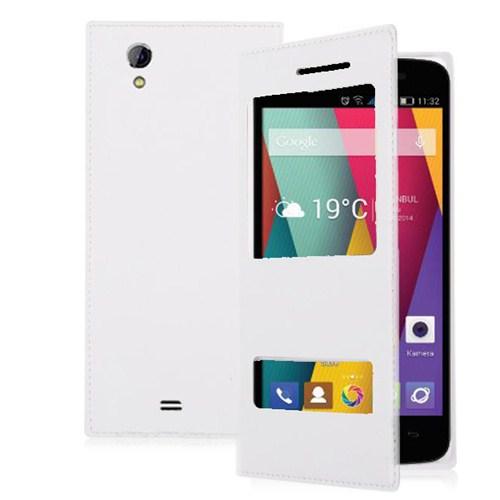 Microsonic Dual View Delux Kapaklı General Mobile Discovery 2 Mini Kılıf Beyaz
